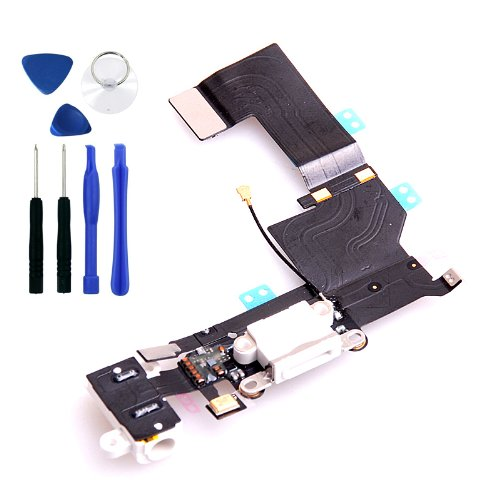 Wantmall Headphone Jack Mic Charging Port Dock Connector Flex Cable For Iphone 5S White