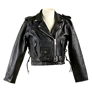 Biker Jackets - Women's Short Leather Biker Jacket LJ602