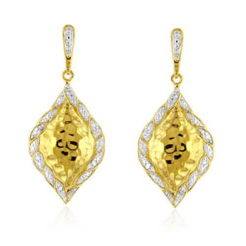 Vicenza Collection: Diamond Leaf Drop Earrings