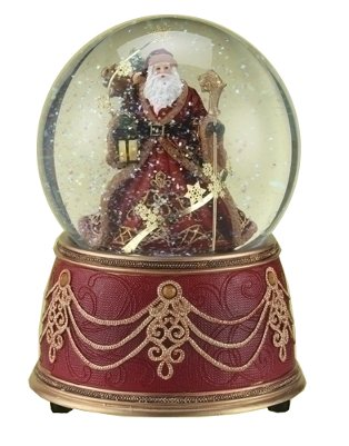 Santa with Snowflakes Musical We Wish You a Merry Christmas 100mm Snow Globe