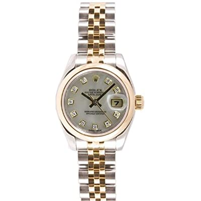 Rolex Ladys Style Heavy Band Stainless Steel & 18K Gold Datejust Model 179163 Jubilee Band Smooth Bezel Mother Of Pearl Diamond Dial by Rolex