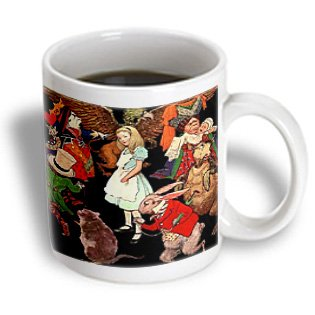 3Drose Mug_162930_2 Beautiful Color Illustration Alice In Wonderland Ceramic Mug, 15-Ounce