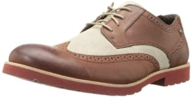 Rockport Men's Ledge Hill Wingtip Oxford,British Tan/Grey/Red,7 W US