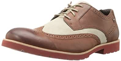 Rockport Men's Ledge Hill Wingtip Oxford,British Tan/Grey/Red,9.5 W US