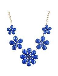 Yazilind Vintage Gold Plated Waterdrop Rhinestone Blue Flower Chunky Necklace Women