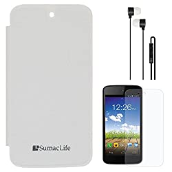 SumacLife PU Leather Flip Cover Case for Micromax Canvas A1 Android One (White) + Black Earphones + Matte Screen