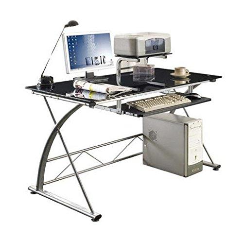 Scrivania Pc In Vetro.Sixbros Office Scrivania Porta Pc Vetro Argento Ct 3350 33