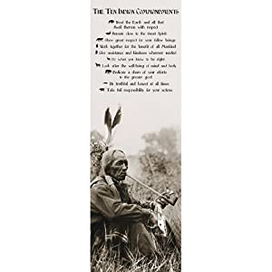 10 Indian Comandments GIANT DOOR PAPER POSTER measures 158 x 53cm. Inspirational, Motivational,