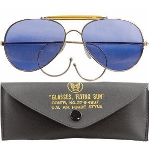 Blue Lenses Us Air Force Style Aviator Sunglasses W/Case
