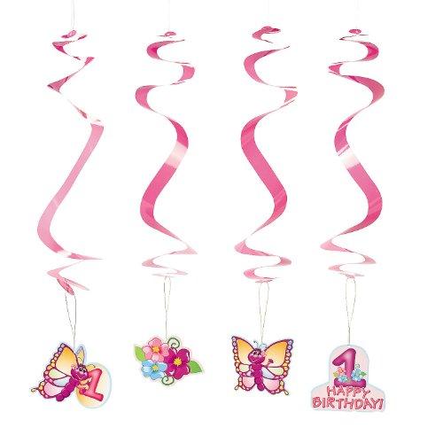Paper 1st Birthday Butterfly Dangling Swirls - 1