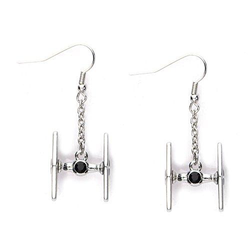 Star Wars TIE Fighter 3D Hook Dangle Stainless Steel Earrings