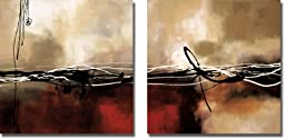 Symphony in Red and Khaki by Maitland 2-pc Premium Stretched Canvas Set (Ready to Hang)