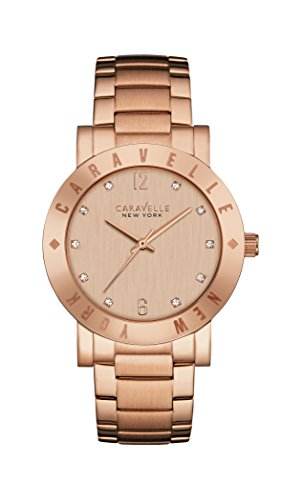 Caravelle New York Rose Gold Boyfriend Women's Quartz Watch with Rose Gold Dial Analogue Display and Rose Gold Bracelet 44L201