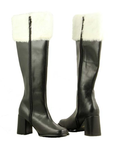 Women's Sexy Mrs. Claus Black with Faux Fur Knee High Christmas Boots - Size 9