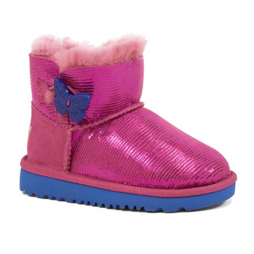 Rev UGG Kids' Mini Bailey Button Lizard Pre/G (Raspberry)