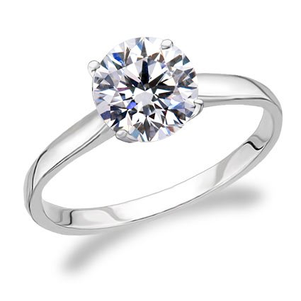 Get Cheap 14K 6 Prong White Gold GIA Certified Solitaire Engagement Ring With A 05 Carat F