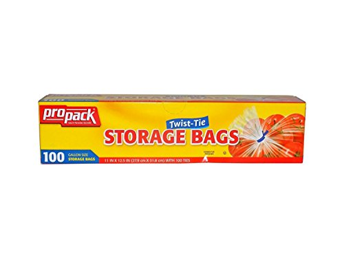 Propack Storage Bags, Original Twist-Tie, One Gallon, 100ct(Pack of 2) (Ties Storage compare prices)