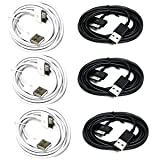 Bluecell 6 Feet USB Data Sync Cable for Apple iPhone 4 4S 3GS iPod iPad , Bluecell Cable Tie, 3 Black, 3 White