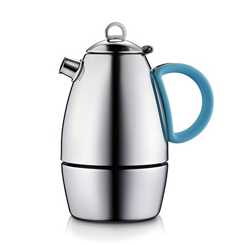 Minos Moka Pot Espresso Maker  - 6 cup - 10 fl oz - Stainless Steel and Silicon Handle - Suitable for Gas, Electric And Ceramic Stovetops (Pasta Pot For Gas Stove compare prices)