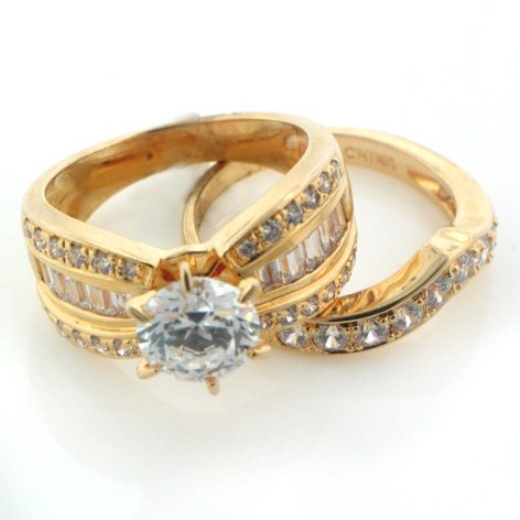 Gold over Sterling Silver Vermeil CZ Bridal 2-Piece Band Ring