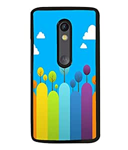 printtech Colored Line Trees Abstract Back Case Cover for Motorola Moto G Turbo Edition