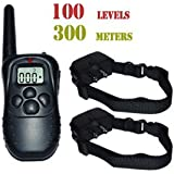 4-in-1 FOR 2 TWO DOG 300M 100LV Remote Shock Training Dog Collar