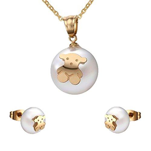 moda-linda-de-acero-de-titanio-perla-simulada-osito-regalo-mujeres-ninas-collar-y-pendientes-sistema