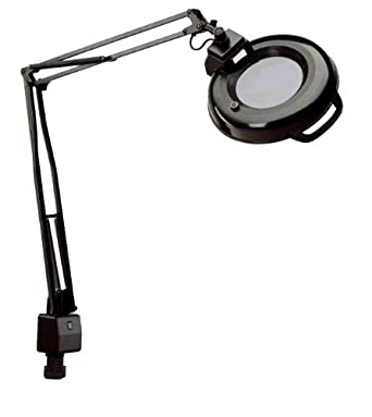 "Electrix 7121 BLK Magnifier Lamp, Fluorescent, Clamp-on Mounting, 3-Diopter, 45"" Reach, 22 Watt, 1,050 Raw Lumens"