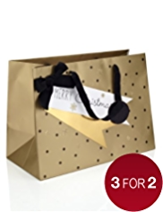 Gold Extra Wide Christmas Gift Bag