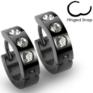Pair of 316L Stainless Steel Black Hinged Hoop Earring with 3 Clear CZs; Comes With Free Gift Box