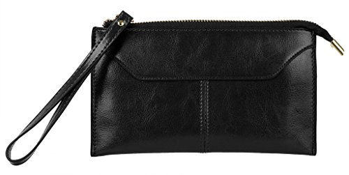 Yahoho Women's Large Genuine Leather Zipper Pocket