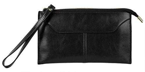 Yahoho Women's Large Genuine Leather Zipper Pocket