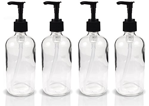 8oz Clear Glass Boston Round Pump Bottles, Great as Glass Essential Oil Bottles, Glass Lotion Bottles, Glass Soap Bottles, and More (4 Pack)