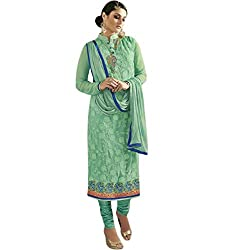 Latest Wize Green Straight Cut Embroidered Georgette Party Dress Material with Chiffon Dupatta