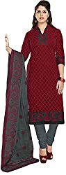 SP Marketplex Women's Cotton Unstitched Dress Materials (Spmsg327, Black And Red)