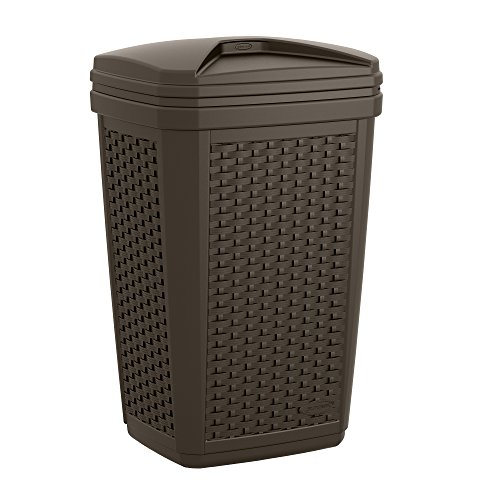 Suncast BMWC3007 Resin Wicker Trash Hideaway, 30 gallon, Java (Wicker Garbage Can compare prices)