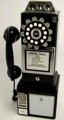 Steepletone Teléfono de pared estilo cabina americana años 50, color negro