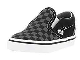Vans Unisex Baby Checkerboard Classic Slip-On - Black/Pewter - 4 Infant