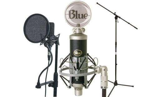 Blue Microphones Baby Bottle Cardioid Condenser Microphone W/ Pop Filter And Mic Stand Package