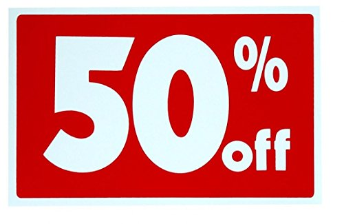 """1 Set Brilliant Modern Sale 50% Percent Off Sign Plastic Cards Discount Customers Size 7"""" x 11"""""""
