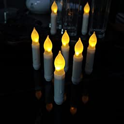 Set of 24 led candlesticks Yellow Flameless Ivory Mini Wax Dipped Amber LED Flameless Taper Candles Flickering Light Bulbs- Batteries Not Included-0.78x 4.5\