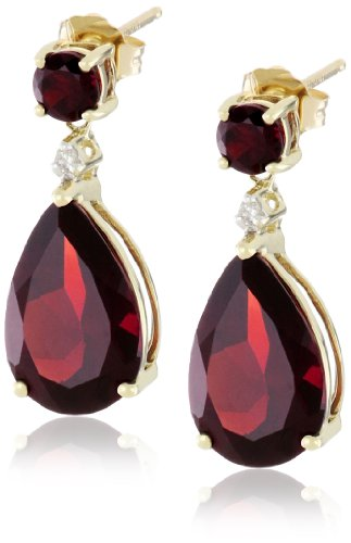 10k Yellow Gold, Garnet, and Diamond Drop Earrings