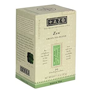 Tazo Zen Green Tea with Lemongrass & Spearmint, 20-Count Tea Bags (Pack of 6)