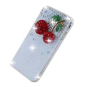 VCOER Schutzhülle für Apple iPhone 4 4G 4S Hülle Harte Rückseite 3D Bling Glitzer Transparent Strass Tasche Hülle Etui mit Kirsche in Rot