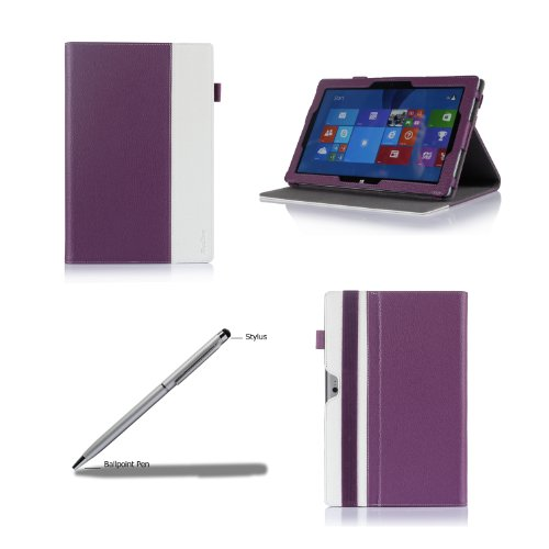 Procase Premium Folio Case With Stand For Microsoft Surface 2 / Surface Rt Tablet, Compatible With Microsoft Keyboard, Built-In Stand With Multiple Viewing Angles, Bonus Stylus Pen Included (Purple/White)