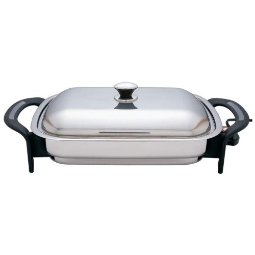 Precise Heat 16inch Rectangular Surgical Stainless Steel Electric Skillet Stainless Steel Cover