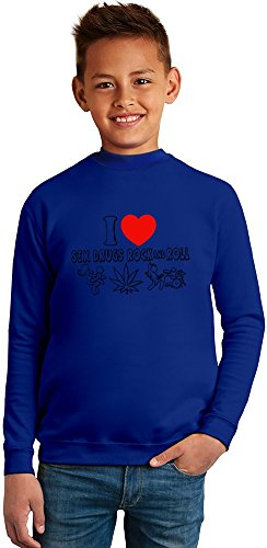 I Love Sex Drugs And Rock'N'Roll Superb Quality Boys Sweater by TRUE FANS APPAREL - 50% Cotton & 50% Polyester- Set-In Sleeves- Open End Yarn- Unisex for Boys and Girls 4-5 years