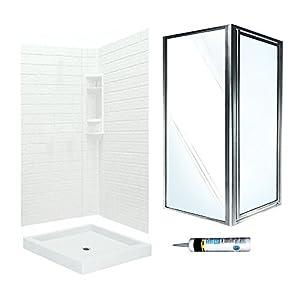Swanstone VCP3636010 SD36CC Veritek Tiled Corner Shower Kit 36 Inch X 72 Inch