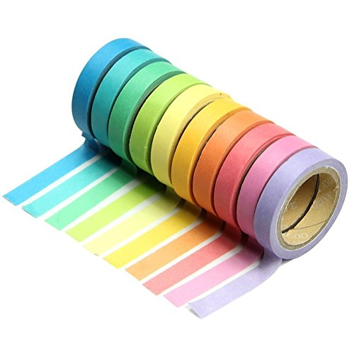 DPIST Washi Tape Set 10x Decorative Washi Rainbow Sticky Paper Masking Adhesive Tape Scrapbooking DIY (Sticky Paper Masking Tape compare prices)