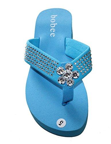 Womens Sandal Platforms Wedges Studded Strap With Big Stone Style Thongs Aqua_10